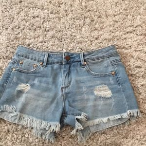 tractor jean shorts light washed